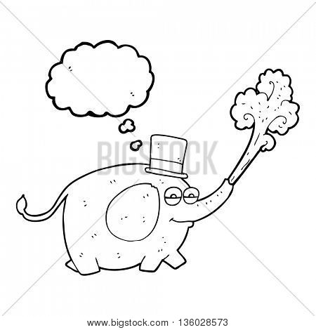 freehand drawn thought bubble cartoon elephant squirting water