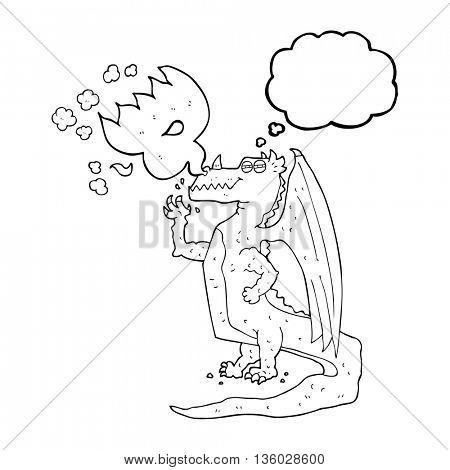 freehand drawn thought bubble cartoon happy dragon breathing fire