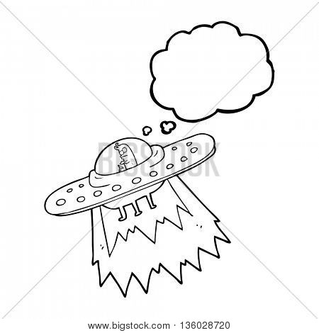 freehand drawn thought bubble cartoon ufo