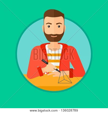 A hipster man with the beard making a model with a 3D pen. Man drawing geometric shape by 3d pen. Man working with a 3d-pen. Vector flat design illustration in the circle isolated on background.