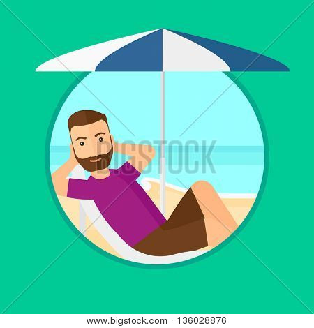 Hipster man with the beard sitting in a chaise longue on the beach. Young man relaxing while sitting under umbrella on the beach. Vector flat design illustration in the circle isolated on background.