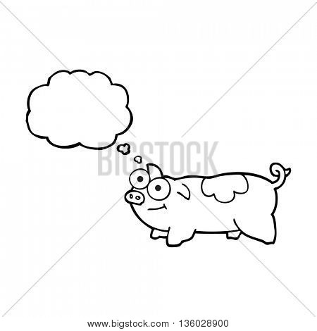 freehand drawn thought bubble cartoon pig