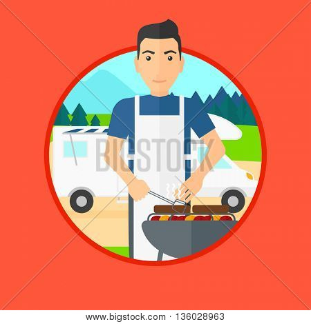 Young man cooking meat on barbecue on the background of camper van. Man travelling by camper van and having barbecue party. Vector flat design illustration in the circle isolated on background.