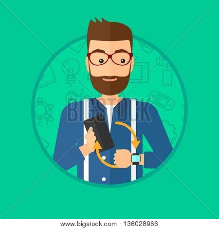 Hipster man with the beard holding a smartphone and looking at his smart watch. Synchronization between smartwatch and smartphone. Vector flat design illustration in the circle isolated on background.