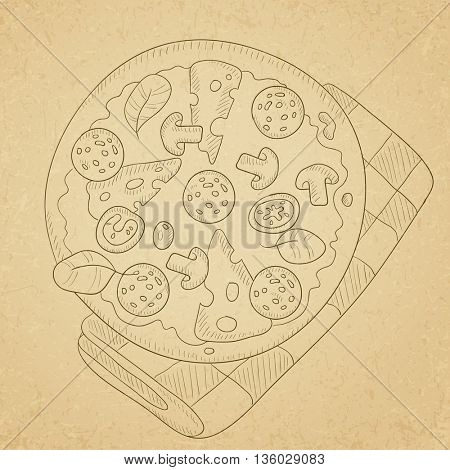 Delicious pizza with salami, mushrooms and olives. Pizza hand drawn on old paper vintage background. Pizza vector sketch illustration.