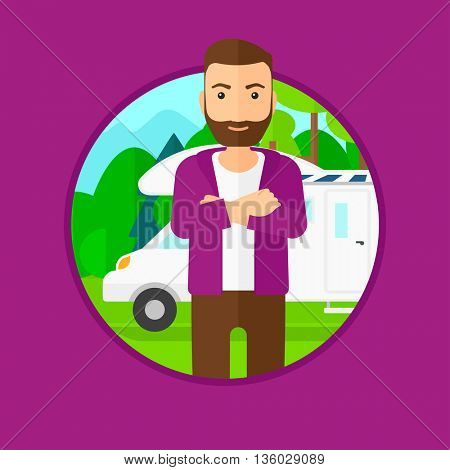 A hipster man with the beard standing in front of motor home. Young man with arms crossed enjoying vacation in camper van. Vector flat design illustration in the circle isolated on background.
