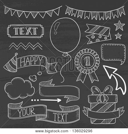 Set of vintage labels, ribbons, frames, banners and elements for party or birthday invitation. Hand drawn in chalk on a blackboard vector sketch illustration.