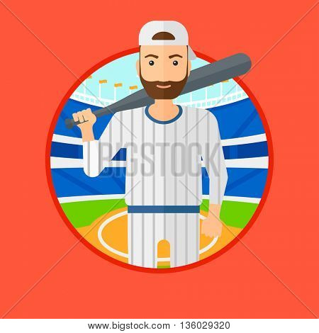 Hipster baseball player with the beard standing on a baseball stadium. Professional baseball player with a bat on his shoulder. Vector flat design illustration in the circle isolated on background.