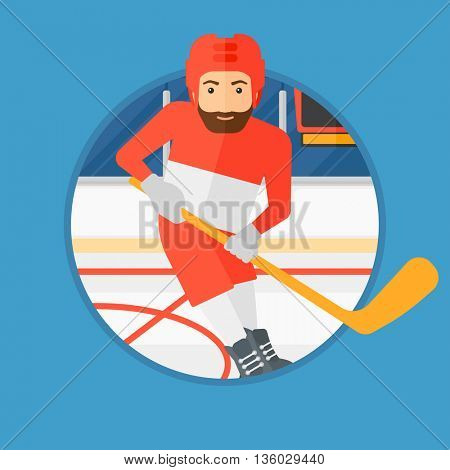 Hipster ice hockey player with the beard skating on ice rink. Ice hockey player with a stick. Sportsman playing ice hockey. Vector flat design illustration in the circle isolated on background.