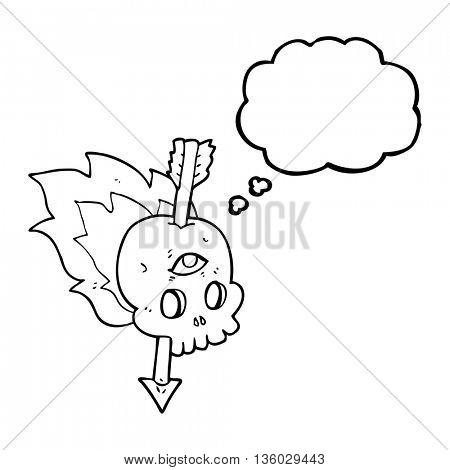 freehand drawn thought bubble cartoon magic skull with arrow through brain