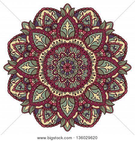 Traditional ornamental round pattern. Vintage decorative element. Vector floral mandala.