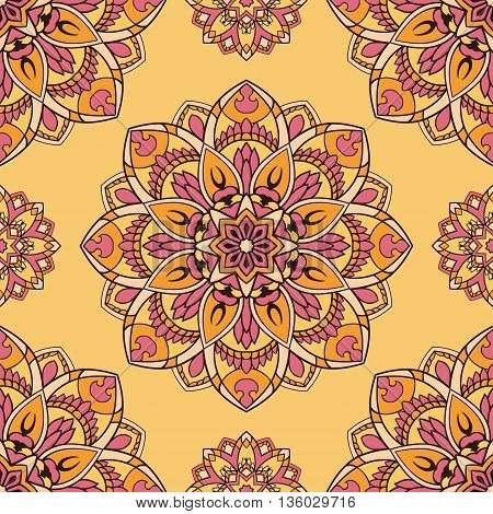 Oriental pink and yellow ornament. Seamless vector design of mandalas. Template for textiles shawl linen carpets wallpaper cushions.