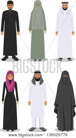 Detailed illustration of different standing arab man and woman in the traditional national muslim arabic clothing isolated on white background in flat style.