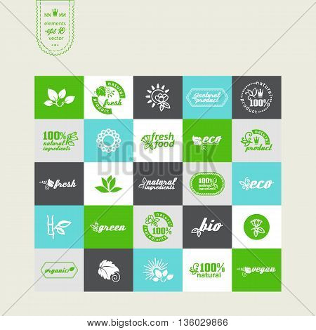 Set of elements for design - ecology eco-friendly natural products and food. A vector.