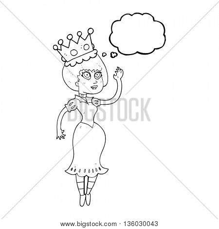 freehand drawn thought bubble cartoon vampire queen waving