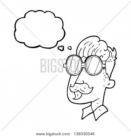 freehand drawn thought bubble cartoon man with mustache and spectacles