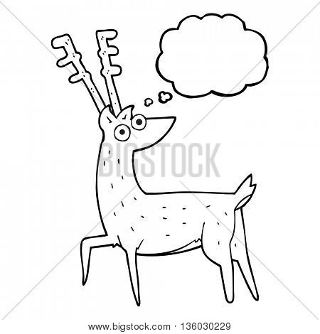 freehand drawn thought bubble cartoon stag
