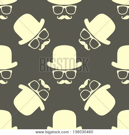 Vintage hipster symbol seamless pattern with hat and mustaches. Stylish retro print for covering or wrapping. Vector Illustration background.