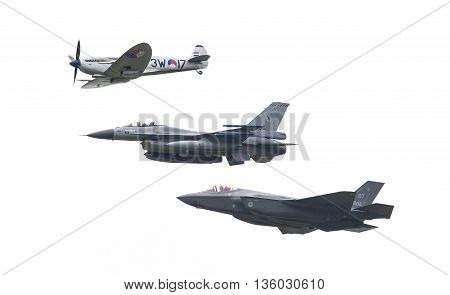 Leeuwarden, The Netherlands - June 11, 2016: F-35 Lightning Ii, F-16 And Spitfire Flyby At The Royal