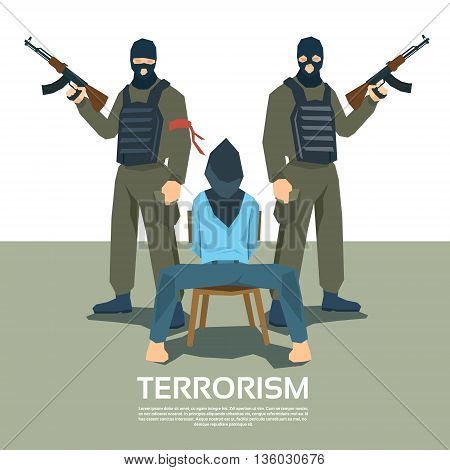 Armed Terrorist Group With Hostage Kidnapping Terrorism Vector Illustration