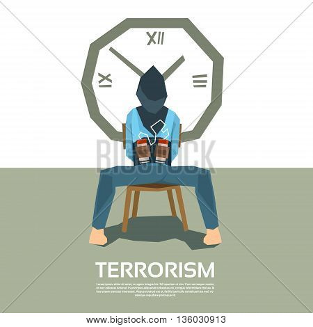 Terrorism Tied Hostage Blindfolded Sitting Chair With Bomb Clock Timer Vector Illustration