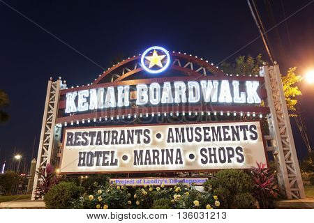 KEMAH TX, USA - APR 14: Kemah Boardwalk entrance sign illuminated at night. April 14 2016 in Kemah Texas United States