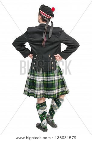 Scottish Man In Traditional National Costume Back Posing