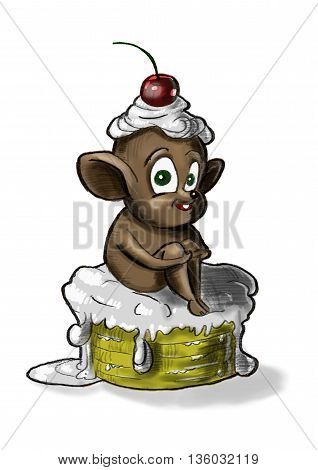 Mouse on the cake. The mouse climbed on the cake. At the head of the mouse cream and a cherry.