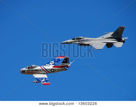 Two Generations Of Us Jetfighter