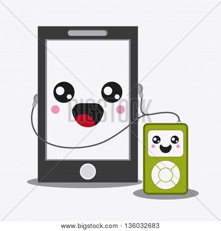 Kawaii and technology concept represented by smartphone and mp3 cartoon icon. Colorfull and flat illustration