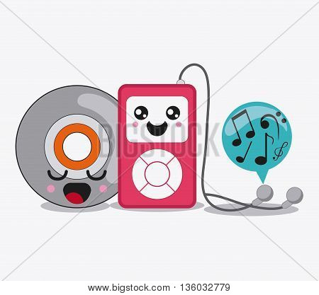 Kawaii and technology concept represented by mp3, bubble and cd cartoon icon. Colorfull and flat illustration