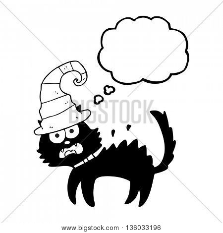 freehand drawn thought bubble cartoon scared black cat