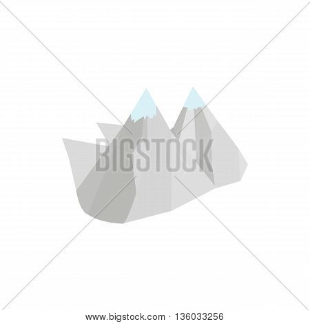 Mountains icon in isometric 3d style isolated on white background. Landscape symbol