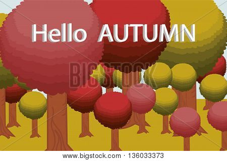 Hello autumn. A beautiful Sunny autumn forest, background, greeting card vector illustration
