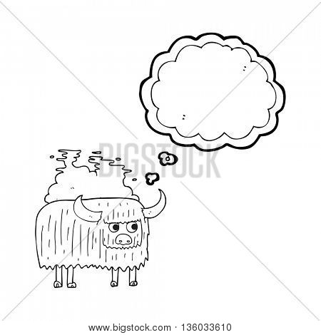 freehand drawn thought bubble cartoon smelly cow