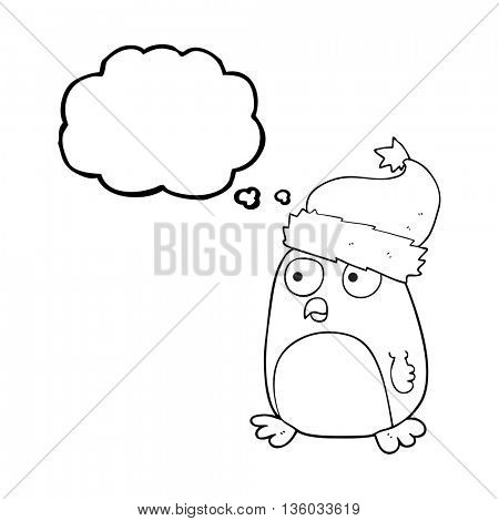 freehand drawn thought bubble cartoon penguin in christmas hat