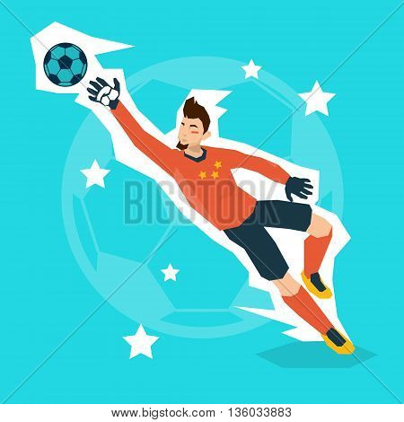 Football Match Goalkeeper Protecting Gates Flat Vector Illustration
