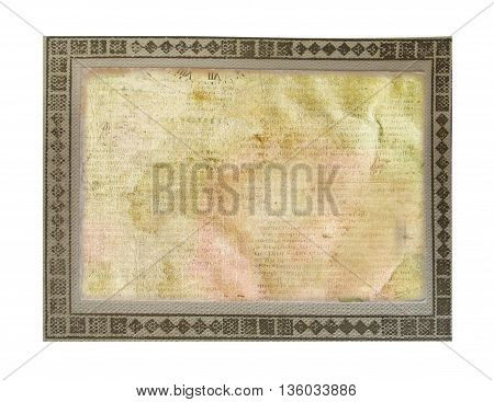 Old Vintage Crumpled Card  On  White Background