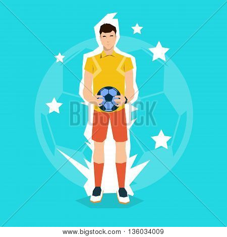 Football Referee hold Ball Match Start Championship Flat Vector Illustration