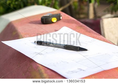 Closeup photo of drawing, pencil  of a carpenter who is going to make design