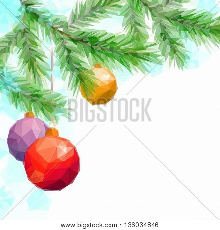 Christmas Holiday Background with Fir Tree Branches and Toy Balls, Low Poly. Vector