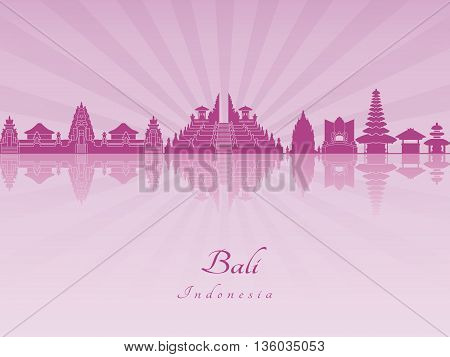 Bali skyline in purple radiant orchid in editable vector file