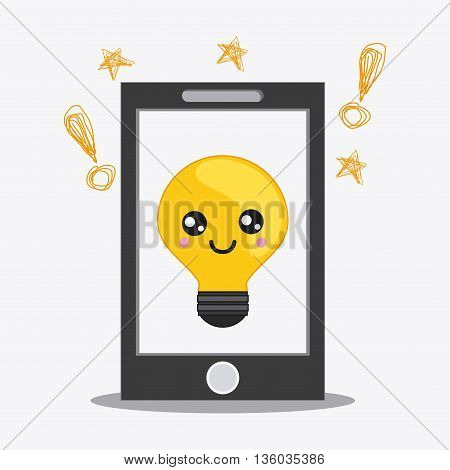 Kawaii and technology concept represented by bulb inside smartphone cartoon icon. Colorfull and flat illustration