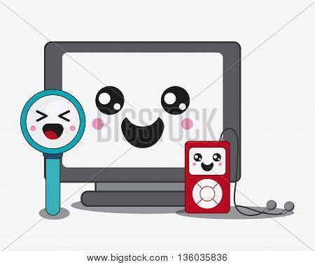 Kawaii and technology concept represented by computer, lupe and mp3 cartoon icon. Colorfull and flat illustration