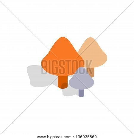Mushrooms icon in isometric 3d style isolated on white background. Nature and plants symbol