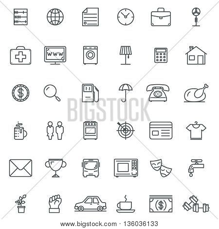 Linear icons. Thin line icons and line signs, outline symbols and linear pictograms. Line symbol, set graphic line element, web line design object, vector illustration