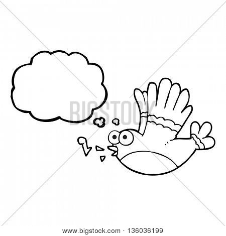 freehand drawn thought bubble cartoon singing bird