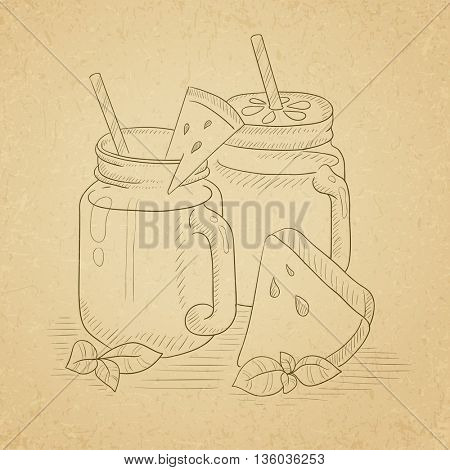 Watermelon smoothie in mason jar with mint and straw. Watermelon smoothie hand drawn on old paper vintage background. Watermelon smoothie vector sketch illustration.