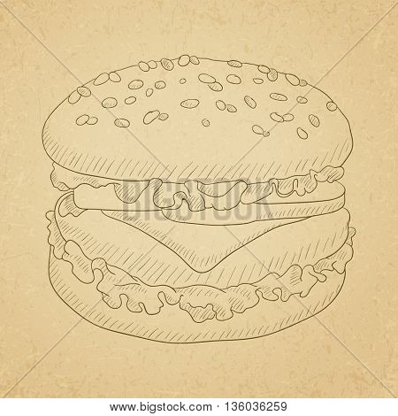 Hamburger with meat, cheese and lettuce. Hamburger hand drawn on old paper vintage background. Hamburger vector sketch illustration.