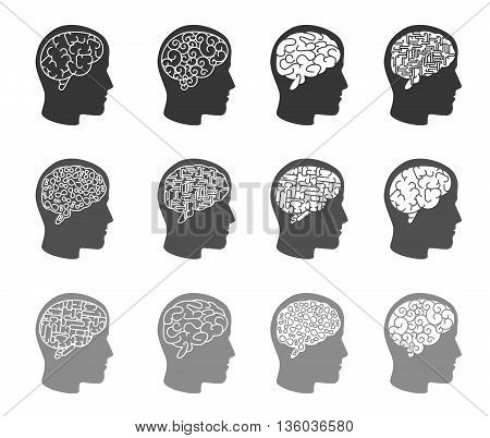 Think icons. Thinking brain in human head icons. Human head, brain human, mind human intelligence, vector illustration